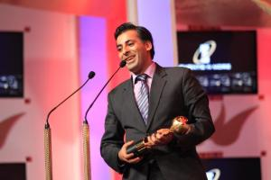 AB Moosa receiving Best Film Distributor award at the SAIFTA in Durban, South Africa, September 6, 2013.