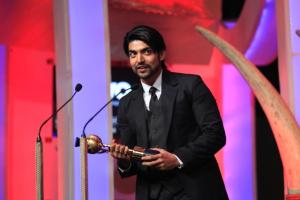 Gurmeet Chowdhary receiving the best television actor at the SAIFTA in Durban, South Africa, September 6, 2013. (Photo: IANS)