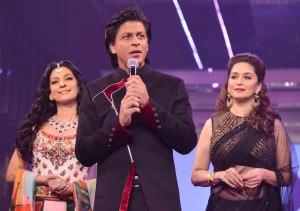 Juhi Chawla, Shahrukh Khan and Madhuri Dixit