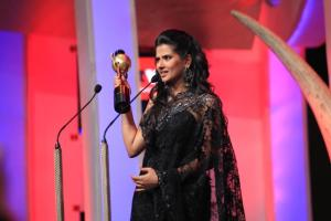 Kratika Sengar receiving Lead actor female YV award at the SAIFTA in Durban, South Africa, September 6, 2013.
