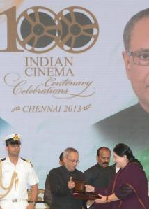 President Pranab Mukherjee, Tamil Nadu Chief Minister J Jayalalithaa, Kerala Chief Minister Oommen Chandy and TN Governor K Rosaiah at the concluding ceremony of Centenary Celebrations of Indian Cinema in Chennai on Sept. 24, 2013. (Photo: IANS)