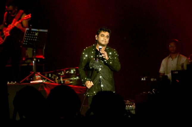 Twin Grammy and Academy Awards winner A R Rahman performs during 'Rahmanishq
