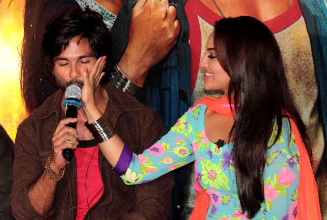 Bollywood actors Shahid Kapoor and Sonakshi Sinha during the theatrical trailer release of film R.Rajkumar