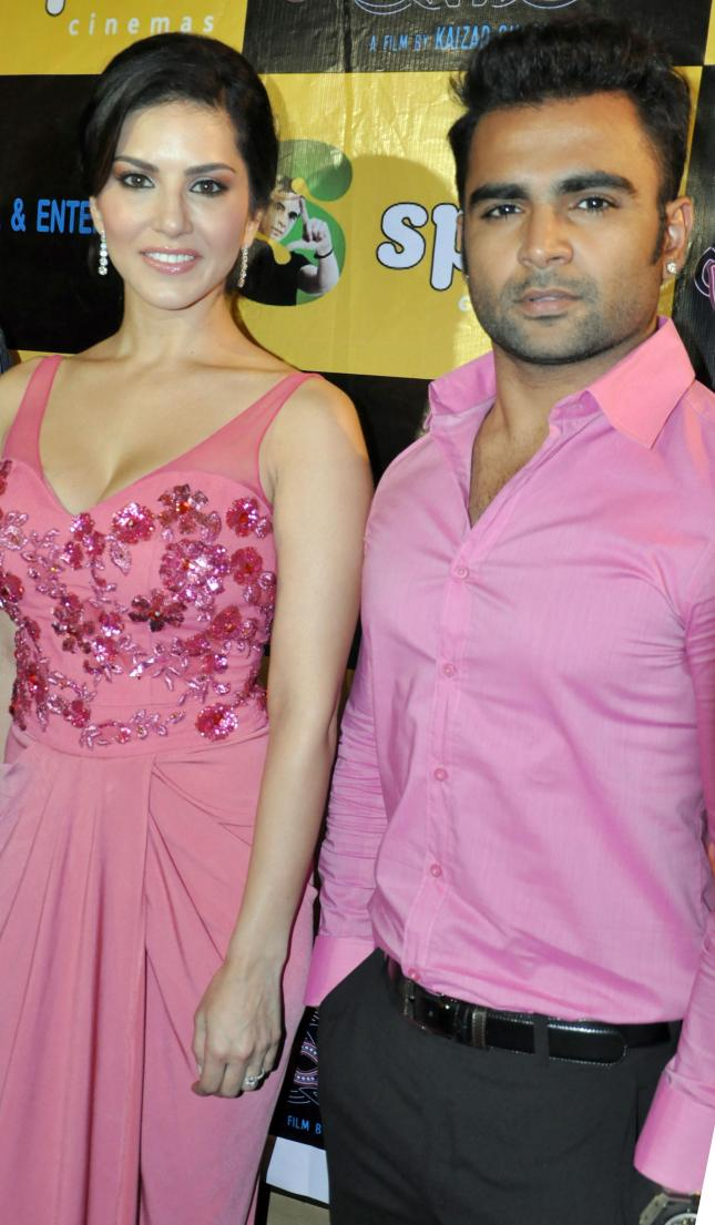 Actors Sunny Leone and Sachin Joshi at a press conference for their film ``Jackpot``, at Spice World Mall in Noida on Dec. 7, 2013. (Photo: IANS)